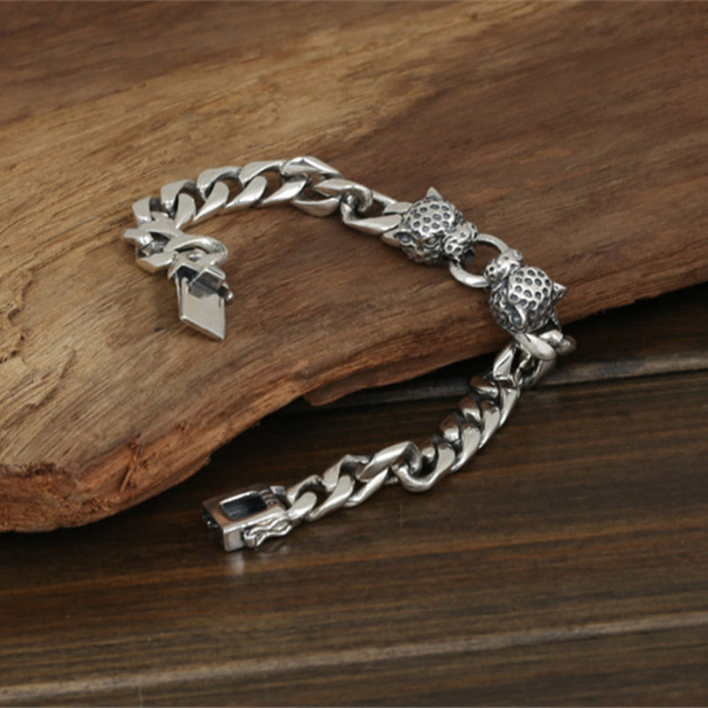 Double Leopard Head Chunky Link Chain Bracelet Men 53g 100% Pure Solid Sterling Silver 925 Cool Thai Silver Mens Jewelry Gifts 8mm solid pure sterling silver 925 mens chain bracelet simple cool style thai silver mens jewelry polished link chain free box