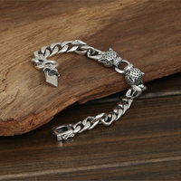 Double Leopard Head Chunky Link Chain Bracelet Men 53g 100% Pure Solid Sterling Silver 925 Cool Thai Silver Mens Jewelry Gifts