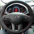 Steering Wheel Leather Covers Case for KIA Sportage R Specially Genuine Leather DIY Hand-stitched Car-styling Black Covers