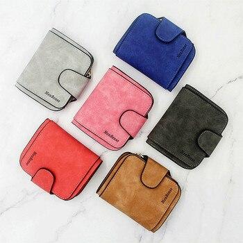 цена на Lady Snap Fastener Zipper Short Clutch Wallet Solid Letter Fashion Small Female Purse Short Purse Vintage Matte Women Wallet