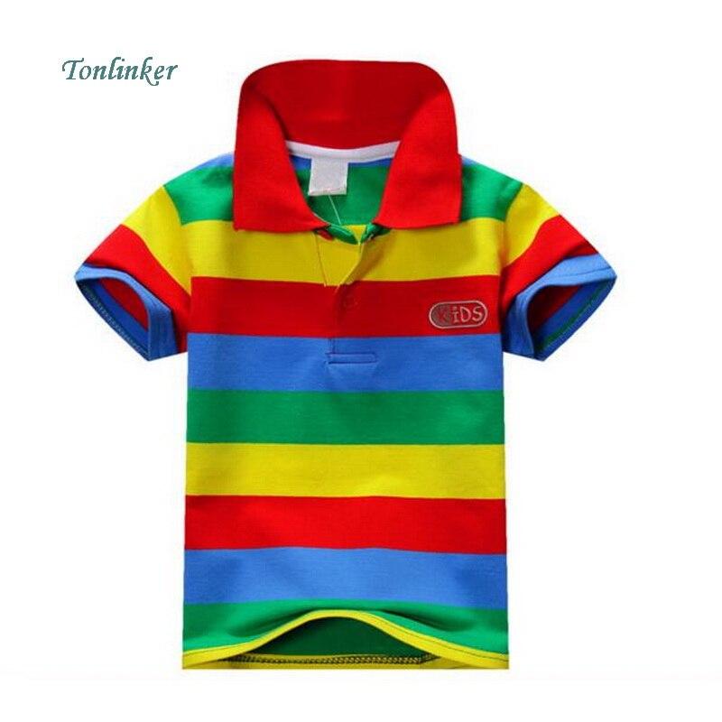 Tonlinker Summer Baby Boy Short Sleeve Striped Cotton Shirt Tops Fashion shirt Casual Child Clothing