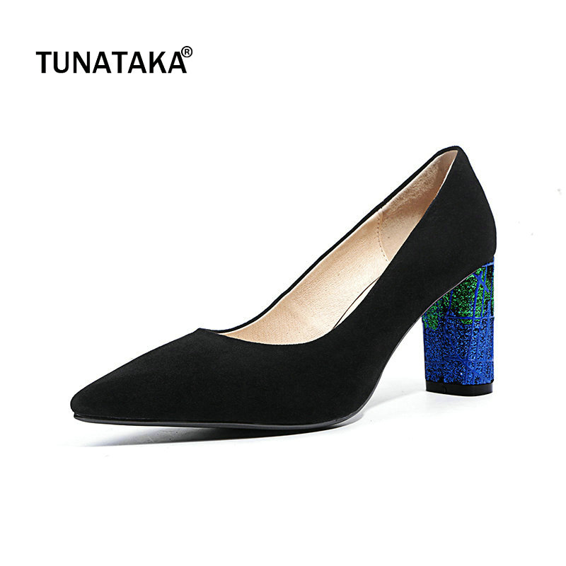 Suede Mixed Color Square High Heel Woman Lazy Pumps Fashion Pointed Toe Dress High Heel Shoes Woman Black Blue
