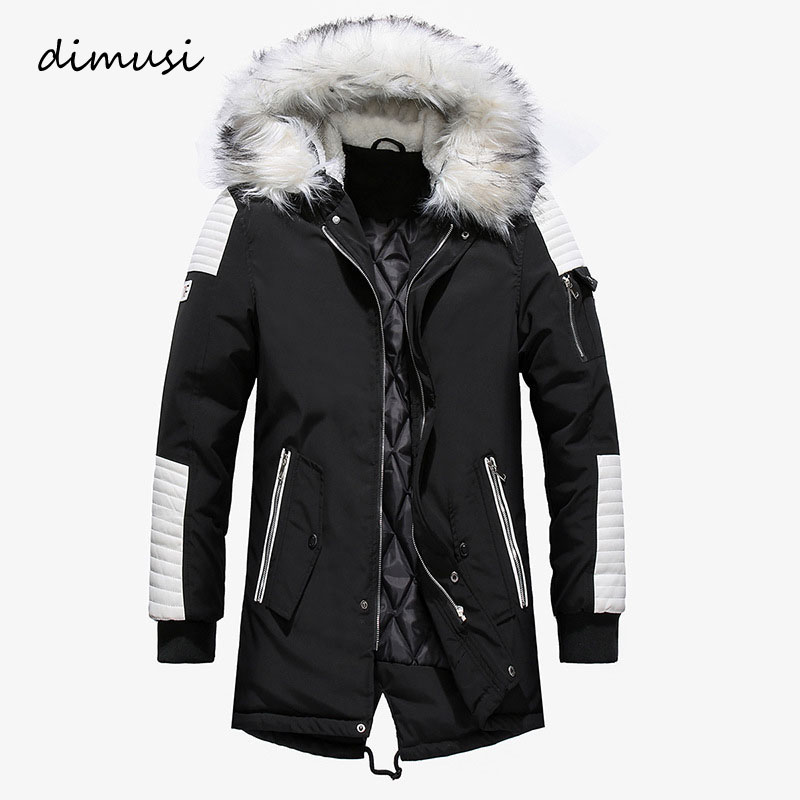 DIMUSI Winter Jackets Men Thick Warm   Parkas   Male Faxu Fur Collar Coats Male Cotton Long Outwear Windbreaker Hoodies,TA256