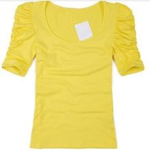 GCAROL Women Summer Candy Color Tshirt Puff Sleeve Female Tshirts Basic Cotton Blends Tops Slim fit Stretch T-shirt