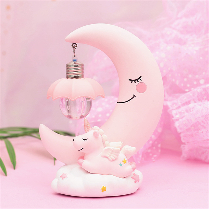 Modern INS Wind Unicorn Night Lamp Home Bedroom Bedside Decor Lighting Resin 3D Night Light Children's Birthday Gift Moon Lamp