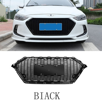 MONTFORD For Hyundai Elantra 2017 2018 ABS Plastic Front Bumper Front Mesh Grille Grille Decoration Cover Trim 1Pcs Car Styling grille