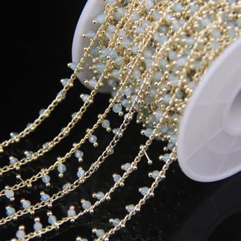 5Meter 2mm Faceted Aquamarine Rosary Chain,Small Size Round Beads Gold Color Brass Wire Wrapped Chain Necklace Sweater Chains