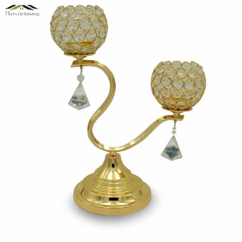Metal Gold/Silver Candle Holders 2-Arms With Crystals 40CMx30CM Stand Pillar Candlestick For Wedding Portavelas Candelabra <font><b>03601</b></font> image
