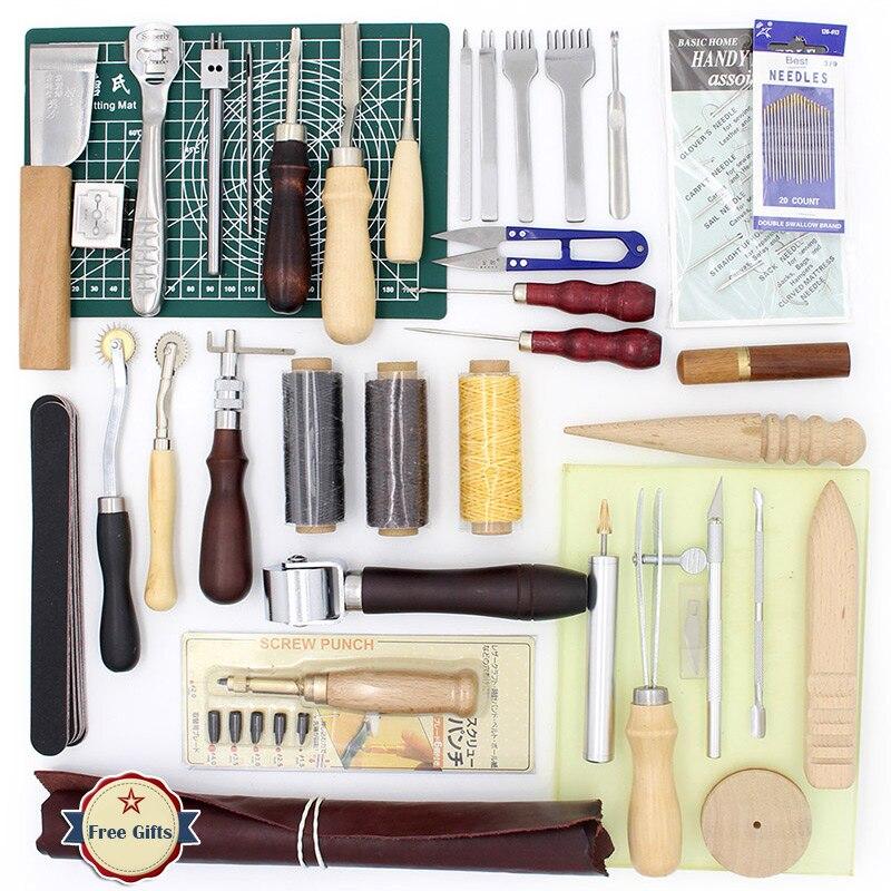 37 pz In Pelle Cucito FAI DA TE Craft Cucitura A Mano Tool Set con Punteruolo Assottigliamento Filo Cerato Ditale Kit Forare di Elaborazione