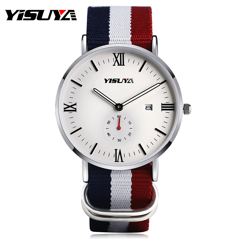 YISUYA Casual Mens Quartz Watch Roman Numerial Date Display Dial Tricolor Nylon Watchband Modern Simple Wristwatch Gift for Men hand made mens wooden bamboo quartz watch black genuine leather watchband simple unique modern wristwatch gift for male female