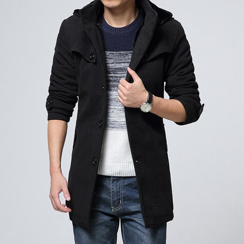 Wool & Blends 2018 Korean Winter Jackets Men Thicken Mens Hooded Wool Coat Velvet Warm Mens Woolen Long Overcoat Male Long Trench Coat Man For Fast Shipping Men's Clothing