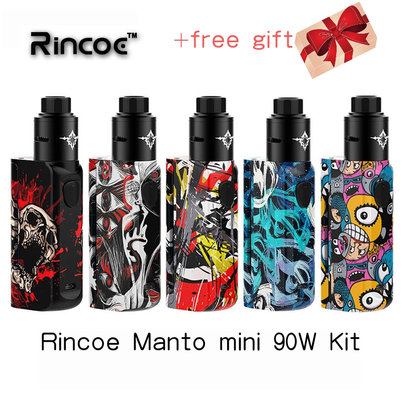 Kit vape Rincoe Manto mini-rda 90W kit alimentado por Um Único celular 18650 kit cigarro Eletrônico vapor tempestade eco pro mechman 228 w
