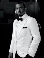 טוקסידו של חתן מותאם אישית, ז 'קט לבן, מכנסיים שחורים, חליפות לגברים, לבן בציר מעיל (מעיל + עניבה + מכנסיים)