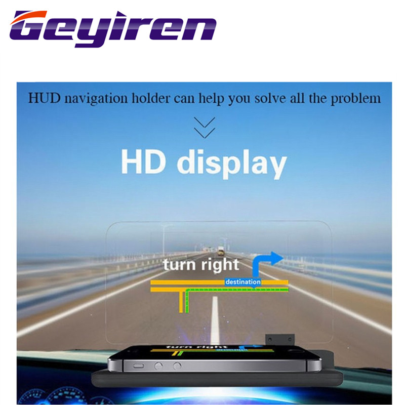 GEYIREN 6 inch Universal H6 Car HUD Head Up Display Projector Phone Navigation Smartphone Holder gps hud for any cars-in Head-up Display from Automobiles & Motorcycles