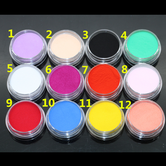 Горячая AliExpress 12 Цветов Акриловая Пудра Маникюр Советы Nail Art 3D Украшения Builder Полимер Бесплатная Доставка