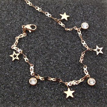 Hot Cute 8 Shape Chain Four Stars Three Crystal Woman Anklets High Quality Titanium Steel Rose Gold Color Woman Like Anklet Gift 1