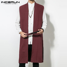 INCERUN Chinese Style Cardigan Sleeveless Cotton Vest Men Long Jackets Trench Overcoat Outwear Solid Color Kung Fu Robe Coats