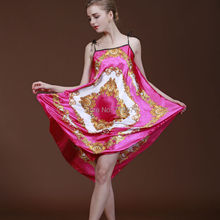 High Quality Silk Nightgown Women Sexy Spaghetti Strap Flower Lingerie Dress Sleepwear Sleepshirts Long Nightgown for Women