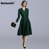 Borisovich Women Casual Lace Dress New Brand 2018 Autumn Fashion V neck Big Swing Elegant Slim Female A line Long Dresses M997