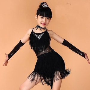 Image 2 - Kids Salsa Dresses Sequin Latin Dance Dress For Girls Fringe Dancing Dancewear Stage Samba Junior Ballroom Standart Costumes