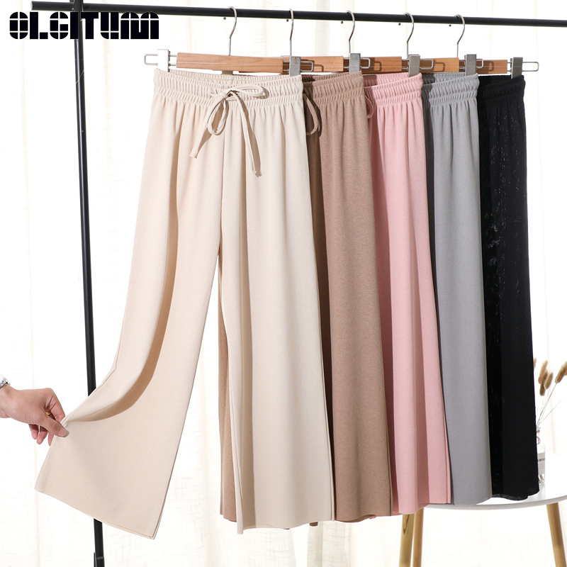 Women Summer Soft Silk Knit Wide Leg Pants Khaki Loose Ankle Length Pants Casual Elastic Waist High Waist Straight Trousers