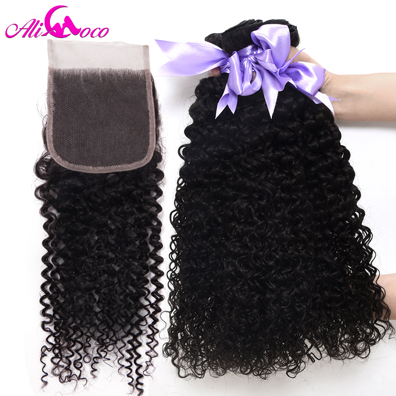 Ali Coco Brazilian Kinky Curly Bundles With Closure 2 3 4 Bundles With Closure 8 30