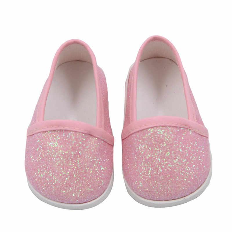 """Zapatos de muñeca para bebé recién nacido de 43 cm, zapatos de tela de moda blanco y negro para niñas de 18 """"zapatos de muñeca sneacker accesorios de muñeca"""