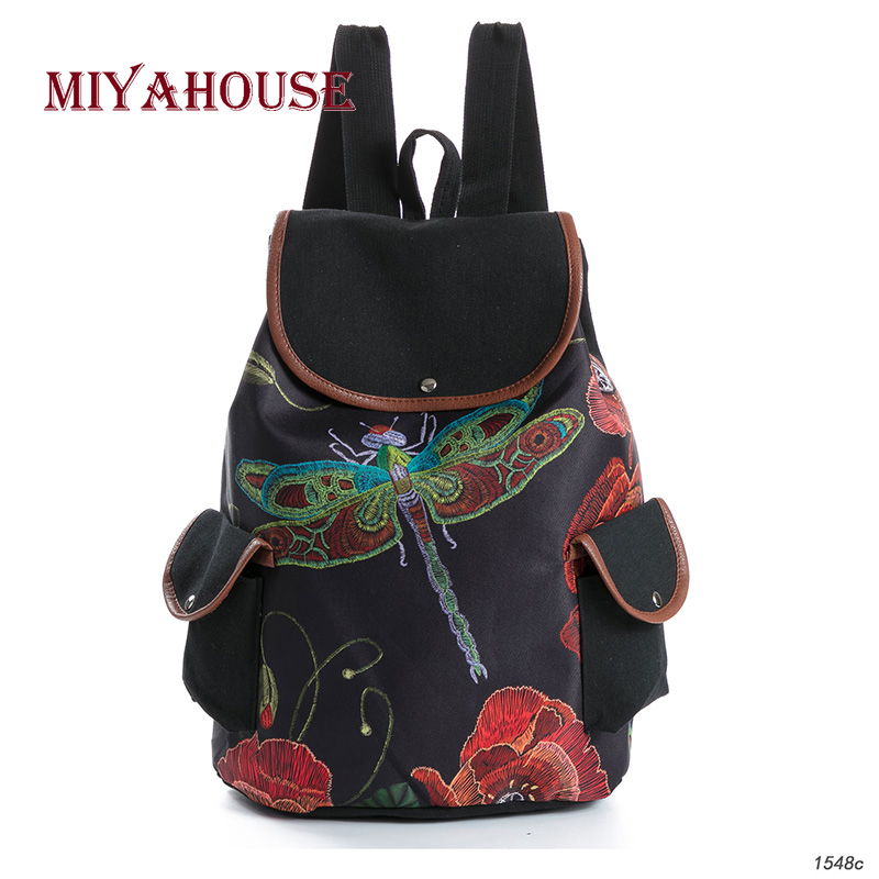 Miyahouse Female Fashion Dragonfly Print Canvas Backpacks Women Drawstring Design Travel Rucksack Girls Black Shoulder Schoolbag casual style print and canvas design satchel for women