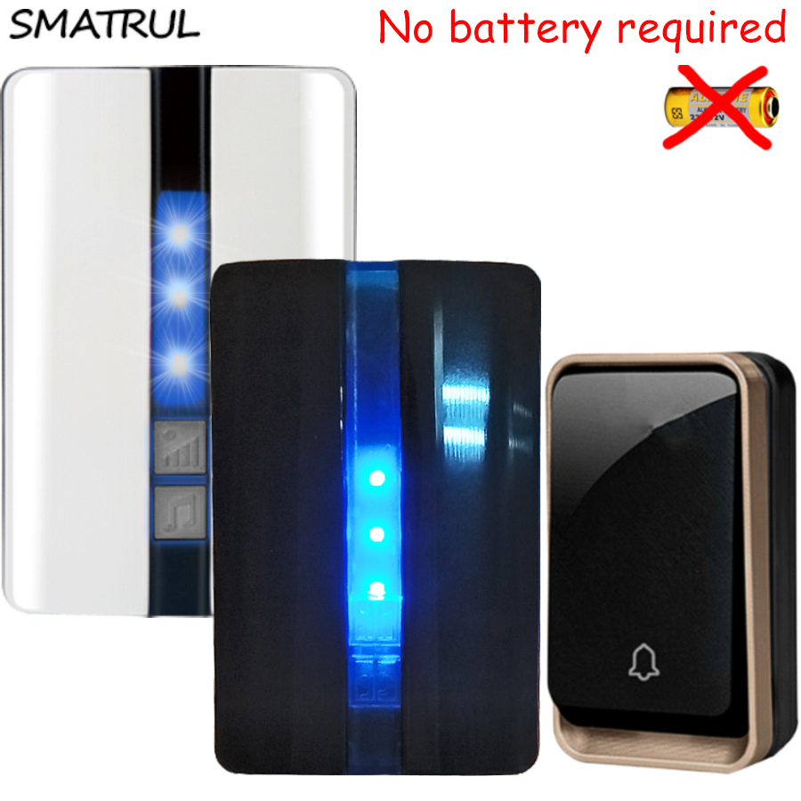 SMATRUL self powered Waterproof Wireless Door Bell no battery EU plug smart DoorBell 1 button 2 Receiver 110 220V LED light Deaf door bell with 36 chimes single receiver waterproof plug in type wireless doorbell cordless smart door bells doorbells