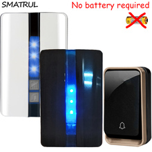 SMATRUL self powered Waterproof Wireless Door Bell no battery EU plug smart DoorBell 1 button 2 Receiver 110 220V LED light Deaf