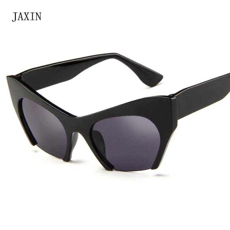 JAXIN Personality Cat Eye Sunglasses Women Fashion new Sun Glasses Ms brand design trend half frame wild eyewear Glasses UV400 in Women 39 s Sunglasses from Apparel Accessories