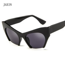 JAXIN Personality Cat Eye Sunglasses Women Fashion new Sun Glasses Ms brand design trend half frame wild eyewear Glasses UV400 цена