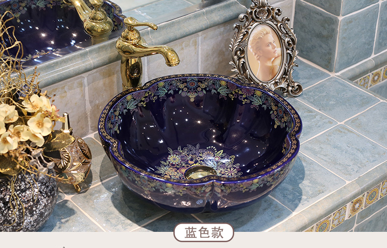 Jingdezhen factory directly hand ceramic wash basin bathroom sinks blue flower shape (1)