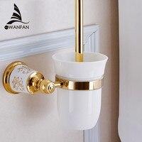 Free Shipping European Style Gold Plated Solid Brass Toilet Brush Holder Bathroom Brush Holder Set Bathroom