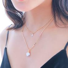 Double Layers Irregular Pearl Choker Necklace For Women Personality Simple Long Gold-Color