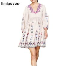 a5bcf1086b Limiguyue pessoas bohemian mexicano bordados vestidos mulheres branco preto  bordado floral boho hippie chique vestido de