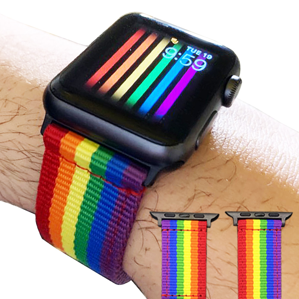 Rainbow Nylon Watchband 38mm 40mm 42mm 44mm For Apple Watch Series 3/2/1 Bracelet Watch Strap For Iwatch 4 5 Band