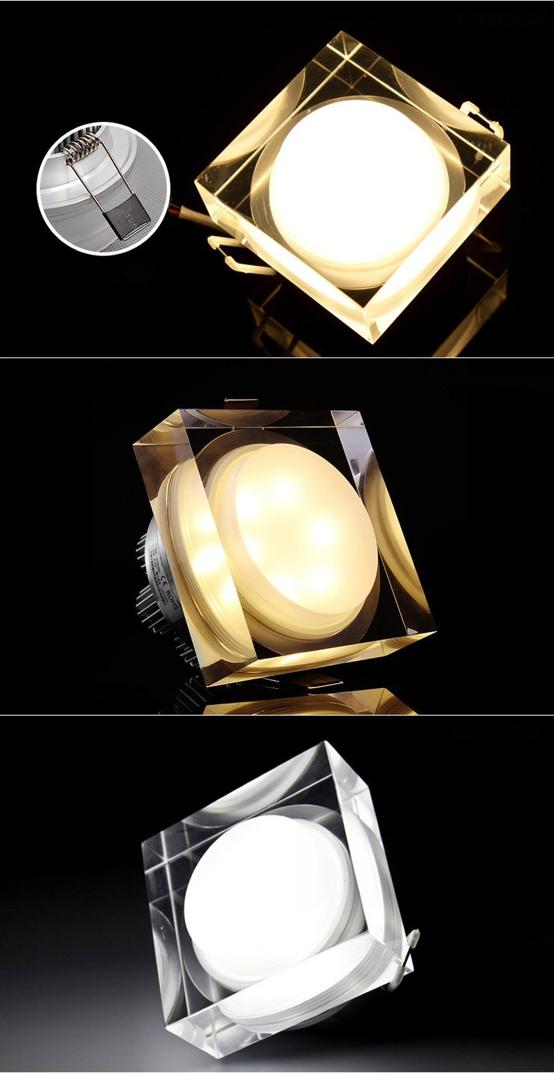 SquareRound  ceiling lamp Crystal LED Downlight 1W3W5W9W  LED Ceiling Lamp Corridor Lights AC110V220V LED Spot Light (2)