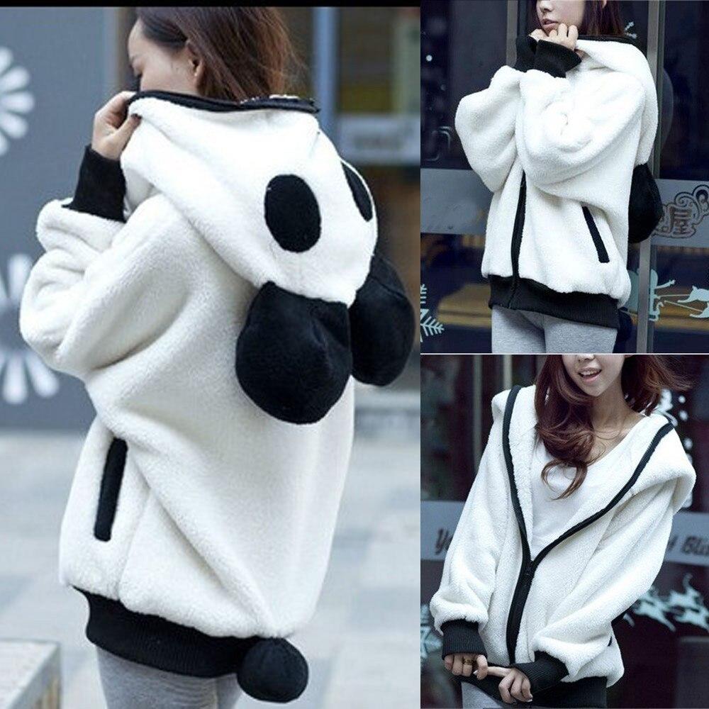 2018 maternity clothes velvet sweatshirt Cute Ear Panda Warm hoodies crop top hooddedsweatshirts sudadera mujer cremallera AG 15 cut and sew panel crop sweatshirt