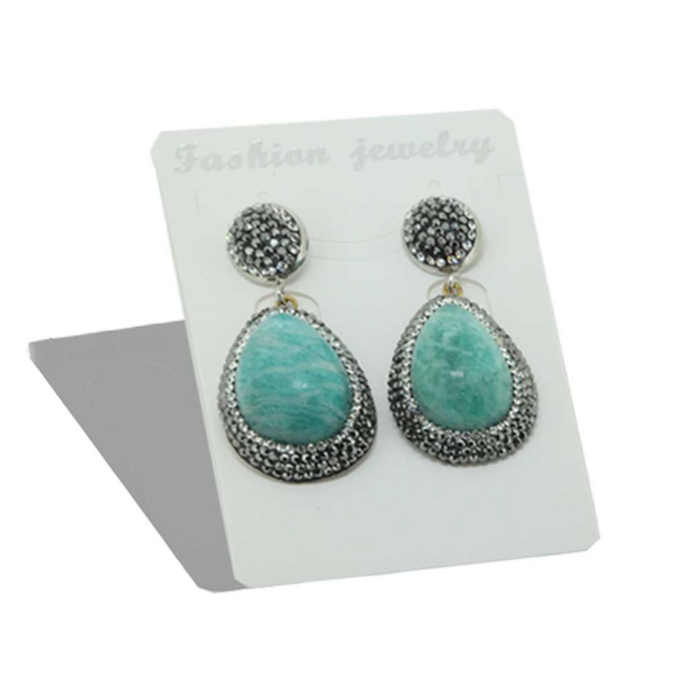 Handcrafted Natural Green Nature Geode Stone Druzy Rhinestones Water Drop  Earrings For Women Jewelry(china
