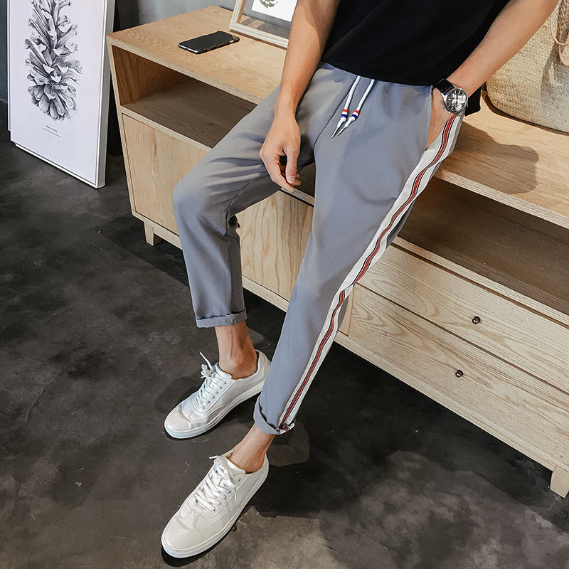 2017 Autumn Men Stripe Casual Fashion Harlan Sweatpants Cotton nice Skinny Trousers Active Elastic Harem Hip Hop Slim Pants