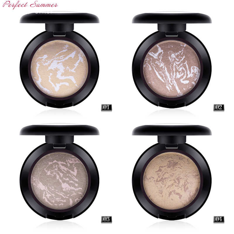 Face Makeup Concealer Baked Powder Brand Comestic Baking Bronzers Highlighters Powder Natrual Face Foundation Powder 4 Colors