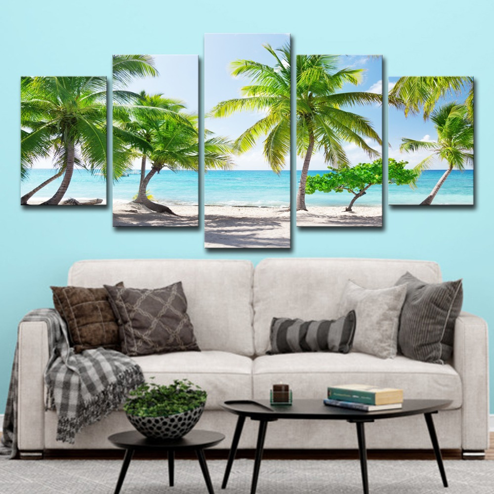 5P0147 HD Printed Canvas Poster Home Decor Modular Pictures Frame 3 Pieces Santa Catalinna Island Beach Coconut Trees Paintings PENGDA (6)
