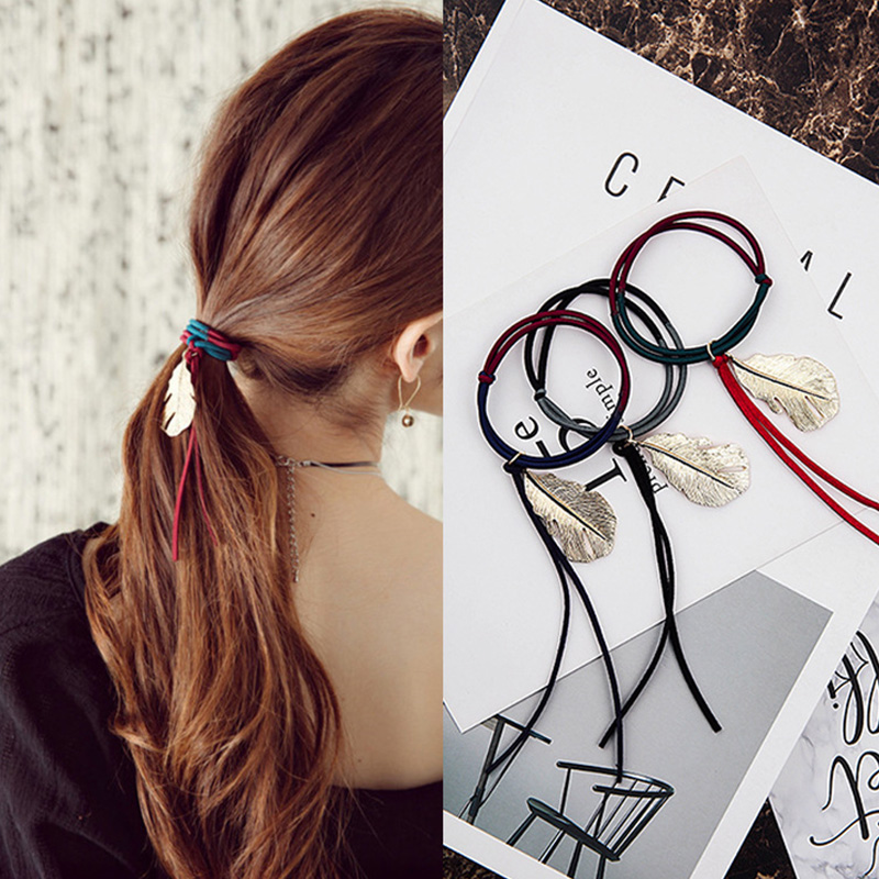 New Alloy Leaf Simple Hair Bands Ponytail Holder Hair Accessories