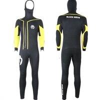 Новый одна деталь 7 мм для мужчин с капюшоном Дайвинг костюм фланелет сёрфинг подводное плавание подводной охоты гидрокостюм
