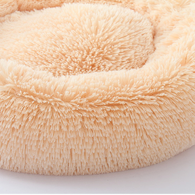 Soft Long Plush Round Pet Dog Bed for Small Medium Dogs Winter Warm Cat House Sleeping Lounger Kennel Kitten Puppy Dog Bed Mat 4