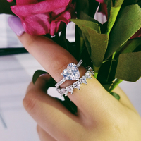 Moonso Sterling Silver 925 Rings For Women 2 Ct Rings 2 Pc Princess Cut Wedding Engagement Jewelry Ring Set R4635S