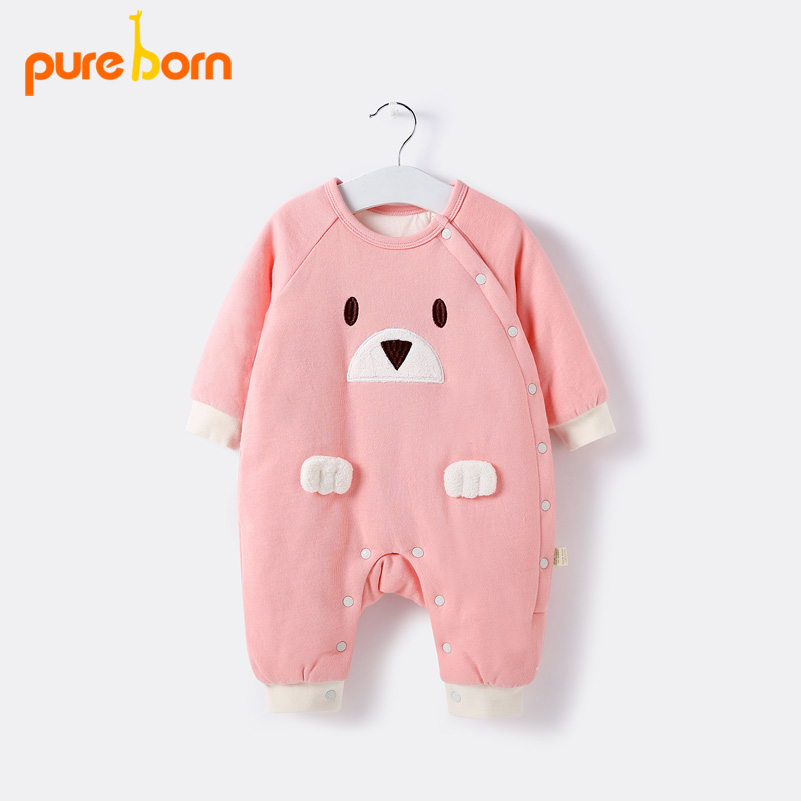 Pureborn Baby Rompers Winter Warm Newborn Baby Clothes Long Sleeve Christmas Infant Jumpsuit Cotton Toddlers Baby Girls Overall watch crystal