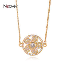 Neovivi Trendy Women CZ Necklaces DIY Hollow Round Micro Pave White Zircon Gold Flower Charm Necklace for Ladies Jewelry Gifts(China)