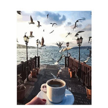 Seagull coffee fly Animal Scenery DIY Digital Painting By Numbers Modern Wall Art Canvas Painting Unique Gift Home Decor 40x50(China)